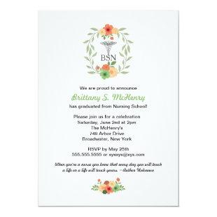Floral caduceus Nurse pinning graduation BSN RN Invitation