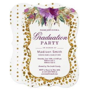 Floral Faux Gold Glitter Confetti Graduation Party Invitation