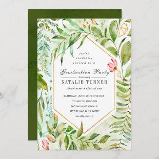 Floral Green Foliage Graduation Party Invitation