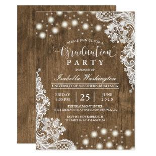 Floral Lace String Light Rustic Graduation Party Invitation