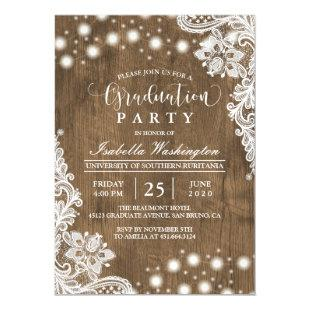 Floral Lace String Light Rustic Graduation Party Magnetic Invitation