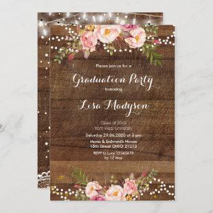 Floral Lace String Lights Graduation Party Card