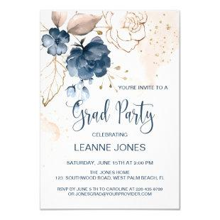 Floral navy blue Graduation Party Invitation