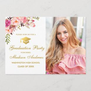 Floral Pink Gold Photo Graduation Party Invitation