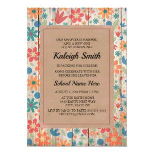 Floral Rustic Wood College Trunk Party Invitation