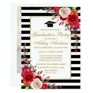 Floral Stripes Gold Graduation Party - Photo Back Invitation