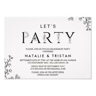 Floral Typography Let's Party Invitation