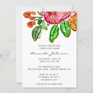 Floral Watercolors Bridal Shower Sweet 16th  Invitation