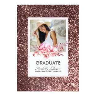 Flowers and Rose Gold Glitter Photo Graduation Invitation