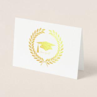 Foil Etched Cap and Leaves Graduation Card