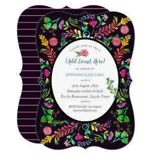 Folk Flowers Invitations ANY EVENT - Watercolor