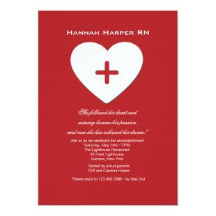 Follow Your Heart Nursing School Graduation Inv. Invitation