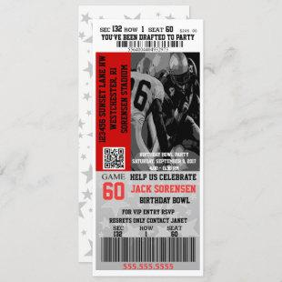 Football Ticket Sports Party Celebration Birthday Invitation