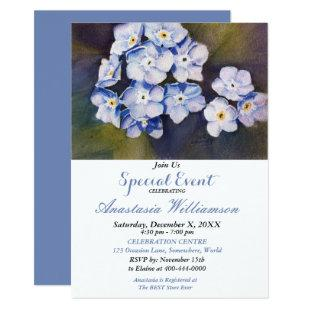 FORGET ME NOT FLOWER PARTY EVENT INVITE