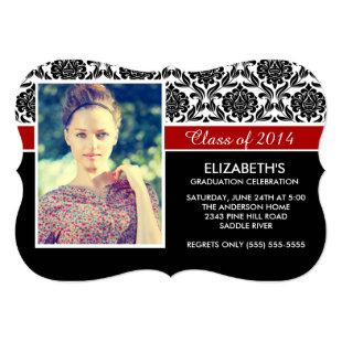 Formal 2014 Black White Damask Photo Graduation Invitation