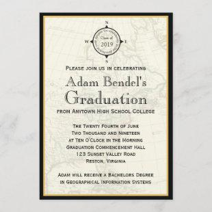 Formal Black Compass Map Graduation Announcements
