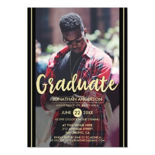 Formal Black & Gold Stripes & Script Grad Photo Magnetic Invitation