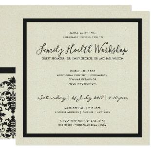 FORMAL BLACK WHITE DAMASK CLASSIC WORKSHOP EVENT INVITATION