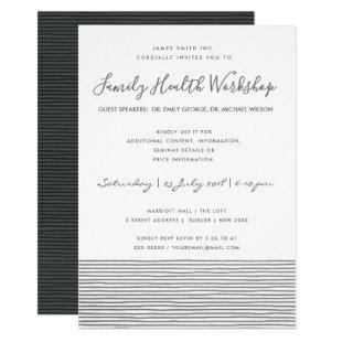 FORMAL BLACK WHITE STRIPE LINE WORKSHOP EVENT INVITATION