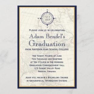 Formal Blue Compass Map Graduation Announcements