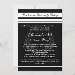 Formal College Graduation Announcements (Black)