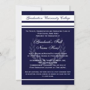 Formal College Graduation Announcements (Blue)