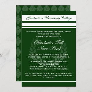 Formal College Graduation Announcements (Green)