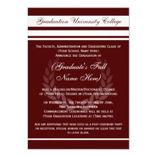 Formal College Graduation Announcements (Maroon)