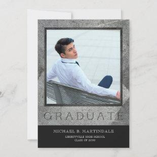 Formal Engraved Stone Two Photo Graduation Announcement