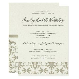 FORMAL FAUX SILVER DAMASK CLASSIC WORKSHOP EVENT INVITATION