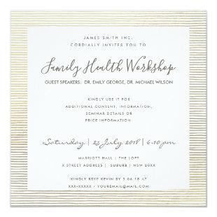 FORMAL FAUX SILVER STRIPE LINE WORKSHOP EVENT INVITATION