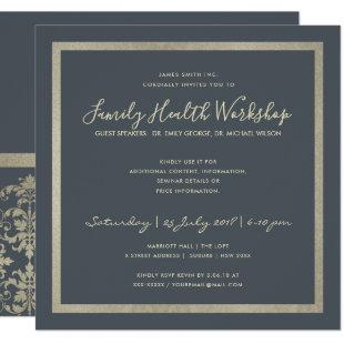 FORMAL NAVY SILVER DAMASK CLASSIC WORKSHOP EVENT INVITATION