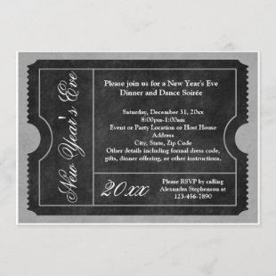Formal New Year's Eve Party Ticket Invitation