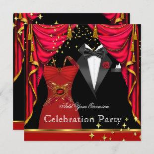 Formal Party Elegant Tuxedo Red Dress Event Invitation