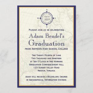 Formal Royal Compass Map Graduation Announcements