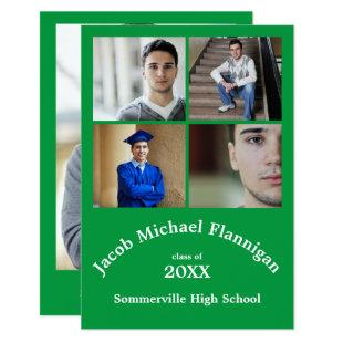 Four Photos Collage Green 3x5- Graduation Announce Invitation