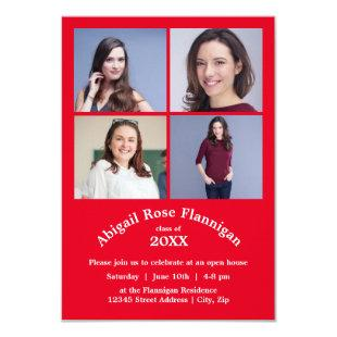 Four Photos Collage Red - 3x5  Graduation Invitation