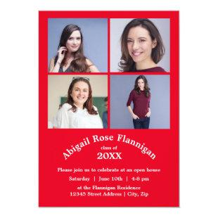 Four Photos Collage Red - Graduation Announcement