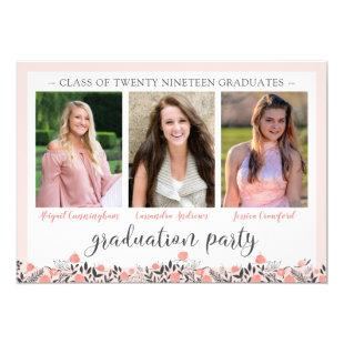 Friends Siblings Graduation Party Blush Floral Invitation