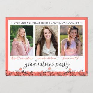 Friends Siblings Graduation Party Coral Floral Invitation