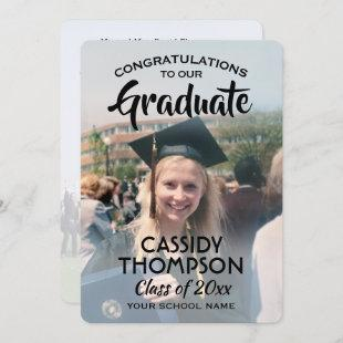 From Parents 2 Photo Black Text Overlay Graduation Announcement