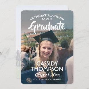 From Parents 2 Photo White Text Overlay Graduation Announcement