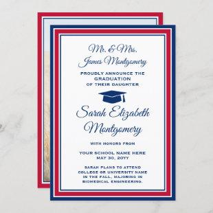 From Parents Photo Graduation Red White and Blue Announcement