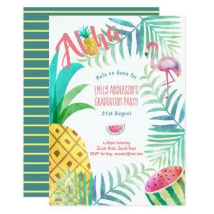 Fruity Tropical Graduation Party  Invites Flamingo