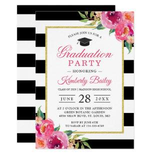 Fuchsia Purple Red Floral Stripes Graduation Party Invitation