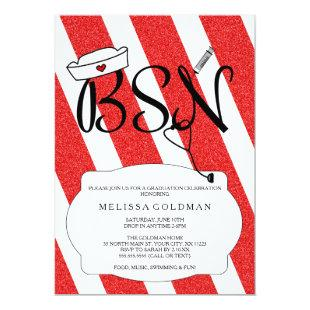 FUN MODERN RN graduation invites RED glitter look