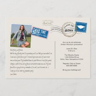 Fun Postcard Style Graduation Party Invitation