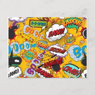 Fun Retro Comic Book Pop Art Explosions Announcement Postcard