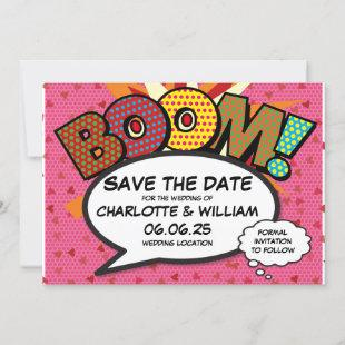 Fun Retro Comic Book Save the Date