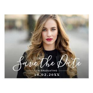Fun script graduation save the date photo postcard